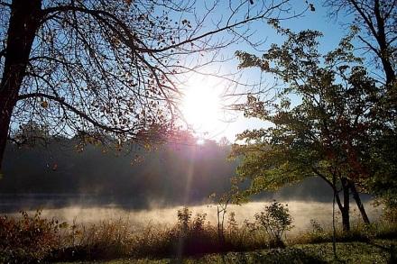 Fog along the river  Riverside Park