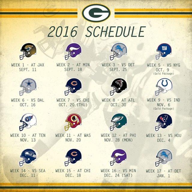 GBP 2016 Schedule